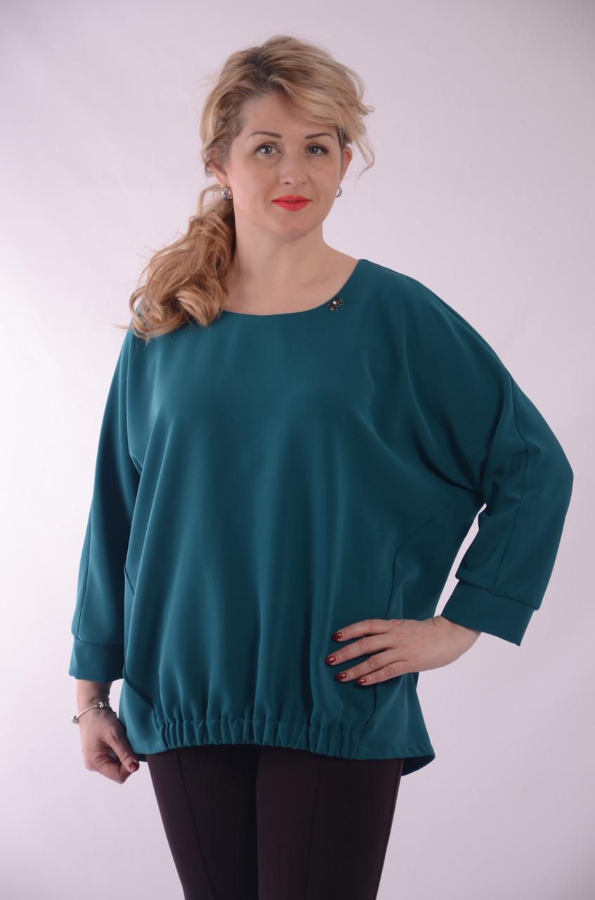 Смарагдова блуза в стилі Бохо бл 003-2 смарагд ,молоко ,корал,темно синій.