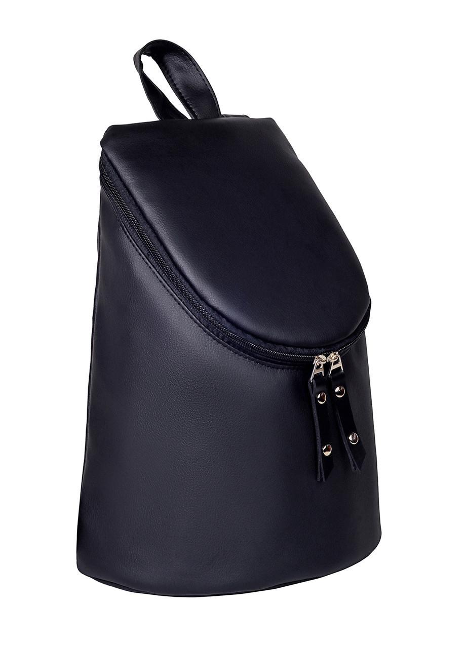 Женский рюкзак цилиндр черный Sambag 34х24 см. экокожа 23202001е