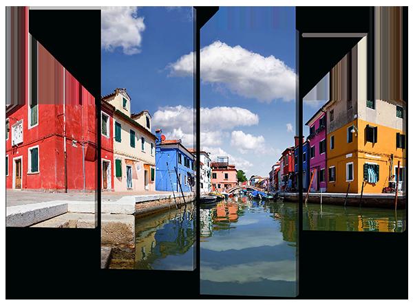 Модульная картина Interno Холст Город на воде 146x108см (R452L)
