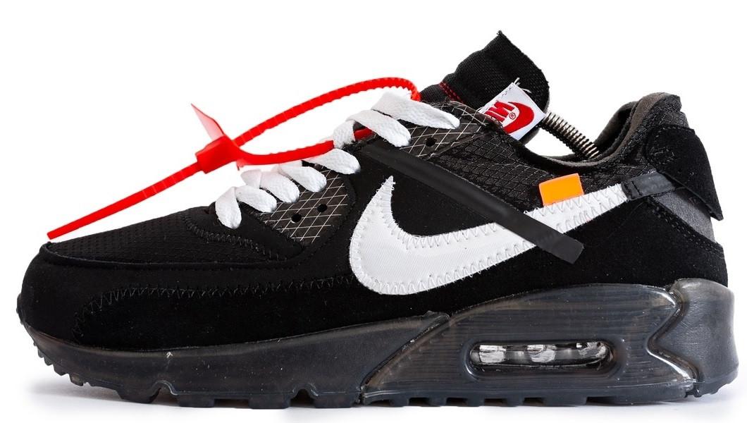 187f1d30 Мужские кроссовки Off White x Nike Air Max 90 Black (найк аир макс 90 х