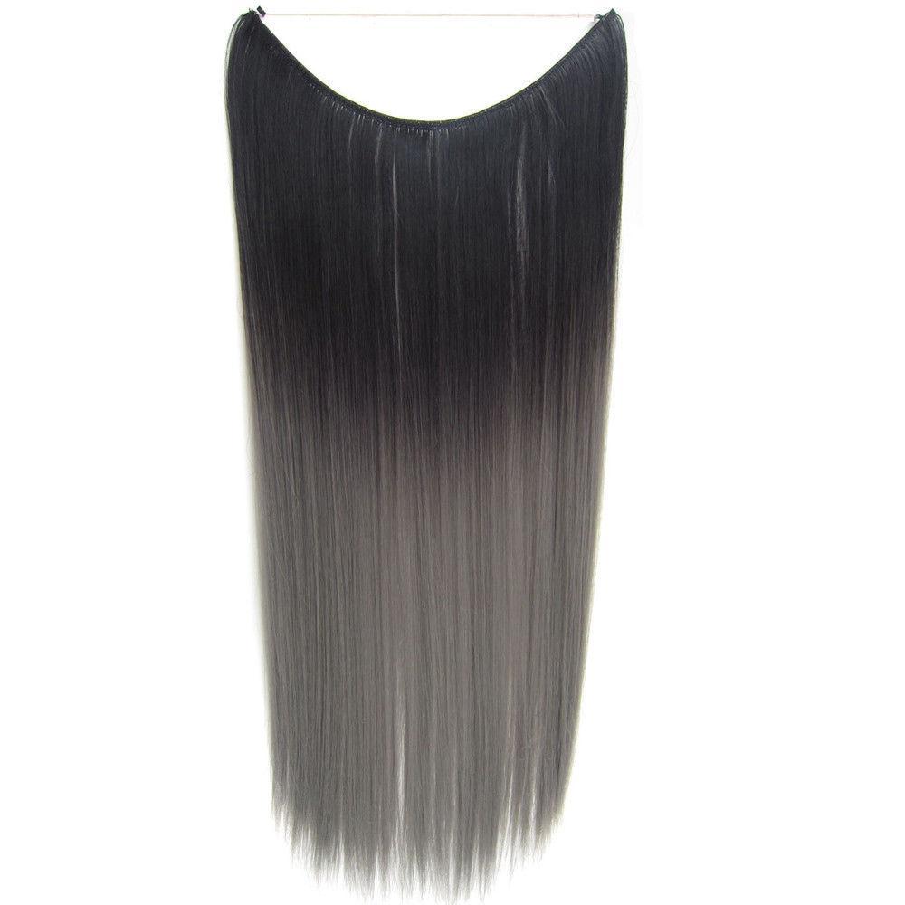 Чудо-прядь накладная из искусственных волос чёрно-серая омбре на леске