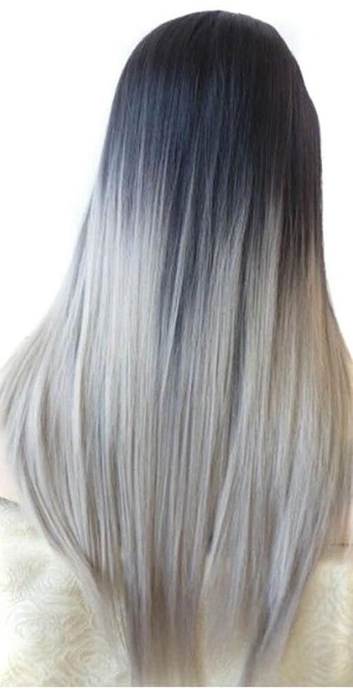 Чудо-прядь накладная из искусственных волос чёрно-серая омбре на резинке
