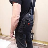 Рюкзак сумка Swissgear мини на однолямочный серый черный