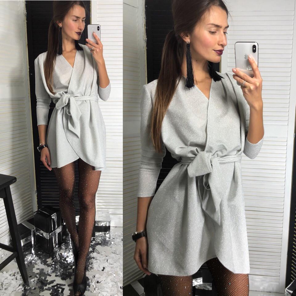 Платье на запах, люрекс. Размер:42-46. Разные цвета (136)