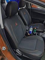 Чехлы на Митсубиси Аутлендер Спорт (Mitsubishi Outlander Sport) (модельные, экокожа+автоткань, подголовник)