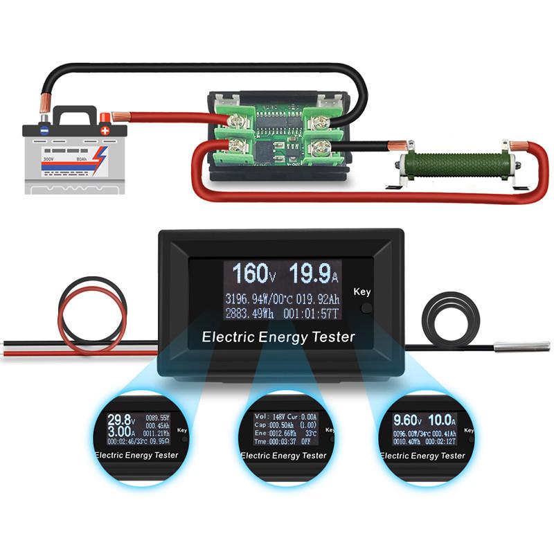 8 в 1 150V 20A 3KW DC Цифровой вольтметр, амперметр, емкости, ваттметр, таймер, термометр