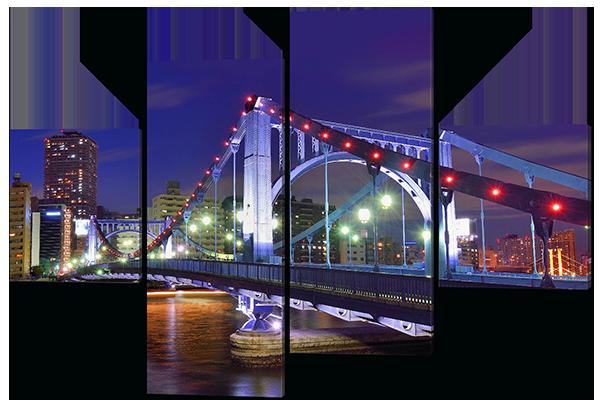 Модульная картина Interno Эко кожа Мост в фонарях 106х71см (A457S)