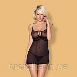 Облегающая прозрачная ночная сорочка черная стринги в комплекте Obsessive 812