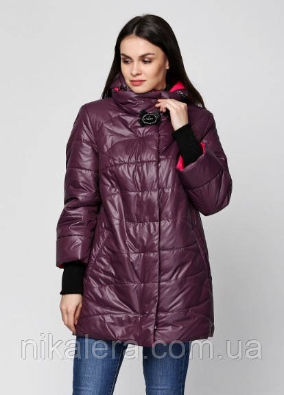 Женская весенняя куртка с брошью и рукав довяз рр 48-58