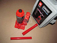 ⭐⭐⭐⭐⭐ Домкрат бутылочный, 2т пластик, красный H=150/280 (Дорожная Карта)  JNS-02PVC