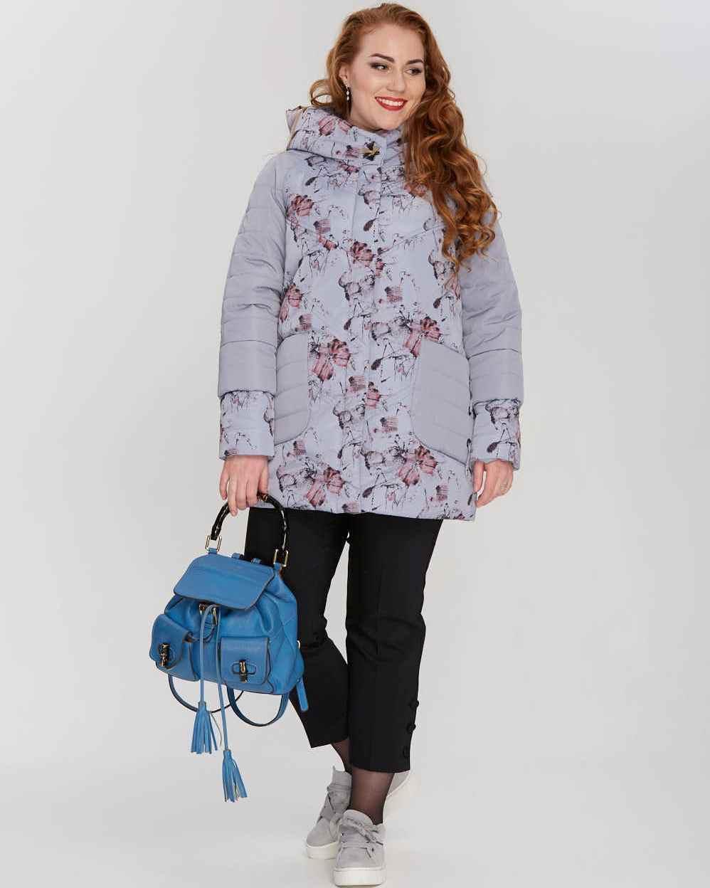 Демисезонная комбинированная женская куртка