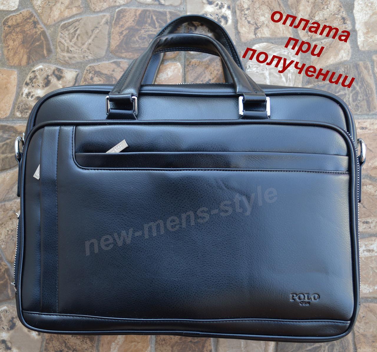 2b05bc404582 Мужская кожаная фирменная деловая сумка портфель Polo для документов