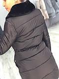 Женская зимняя куртка пуховик отделка дубленка,черная , фото 4