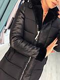 Женская зимняя куртка пуховик отделка дубленка,черная , фото 2