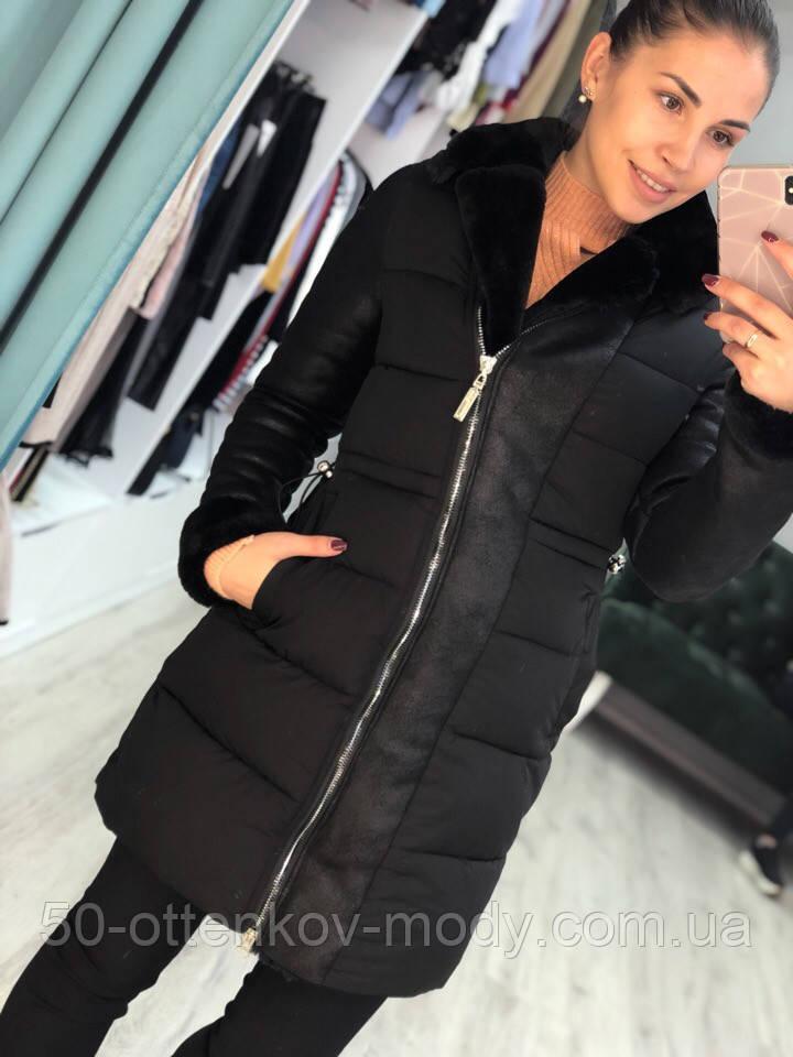 Женская зимняя куртка пуховик отделка дубленка,черная