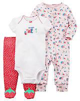 Комплект одежды из 3-х единиц для девочки Carters клубничка