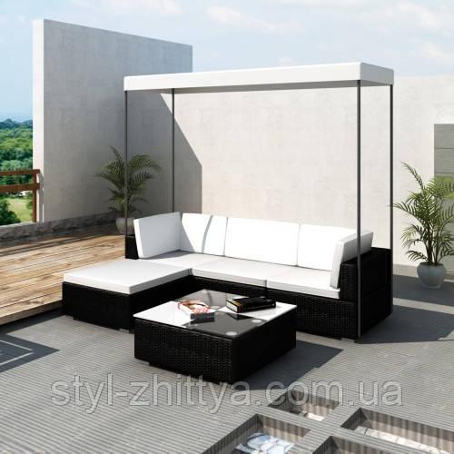 Модульні садові мебелі з штучного ротангу з дашком