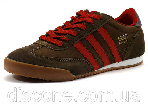Кроссовки Demax Design мужские, замшевые, коричневые/ красные вставки