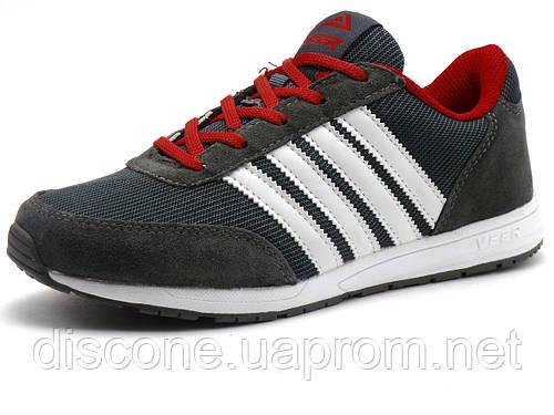 Кроссовки Veer унисекс, комбинированные, темно-серые/ красные/ белые