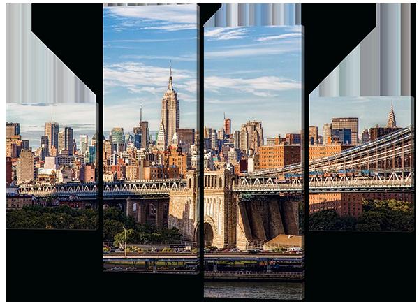 Модульная картина Interno Эко кожа Город и мост 106X77см (A460S)