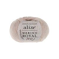 Пряжа Alize Merino Royal Fine оттенок согласно карте цветов слоновая кость 67