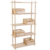 Комплект 09: стеллаж из дерева 5 полок (STR 053080) и ящики из дерева (BXM 153030) - 4 шт