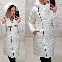 Exclusive. Модная куртка парка, арт М522, цвет белый