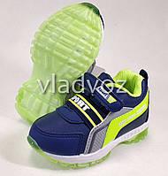 Детские светящиеся кроссовки с подсветкой для мальчика салатовые с синим 23р.