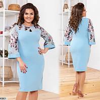 Нарядное платье женское креп-костюмка 48-54 размеров,2 цвета