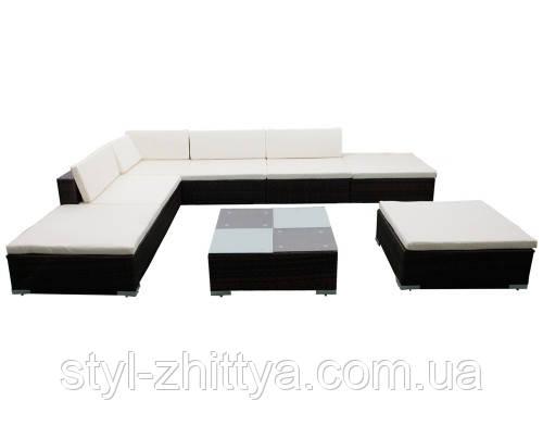 Модульні меблі з штучного ротангу, кутовий диван