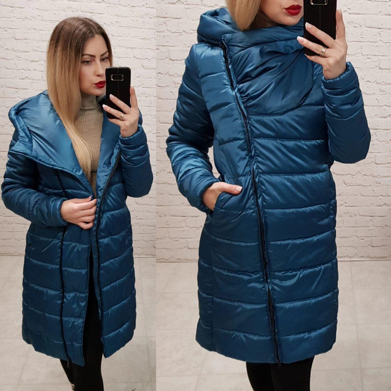 Exclusive. Модная куртка парка, арт М522, цвет морская волна ( аква)