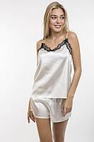 Изысканная нежная атласная пижама майка и шорты  42-46 р., фото 1