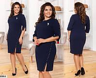 Нарядное платье женское демисезонное креп-дайвинг 48-58 размеров, 2 цвета