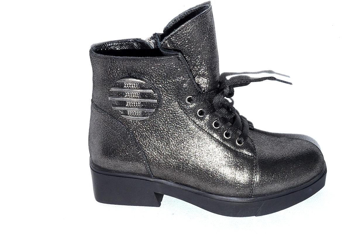 585327b31 Ботинки кожаные женские Турция весна-осень серые натуральная кожа -  Интернет-магазин