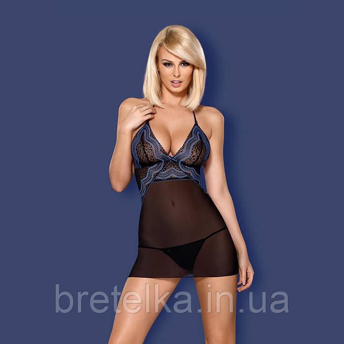 Ночная сорочка прозрачная черная стринги в комплекте Obsessive 844