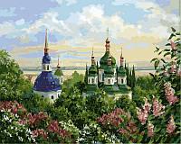 Картина по номерам 40×50 см. Выдубицкий монастырь в Киеве