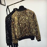 Женский свитшот реглан Хамелеон с пайетками золотистый