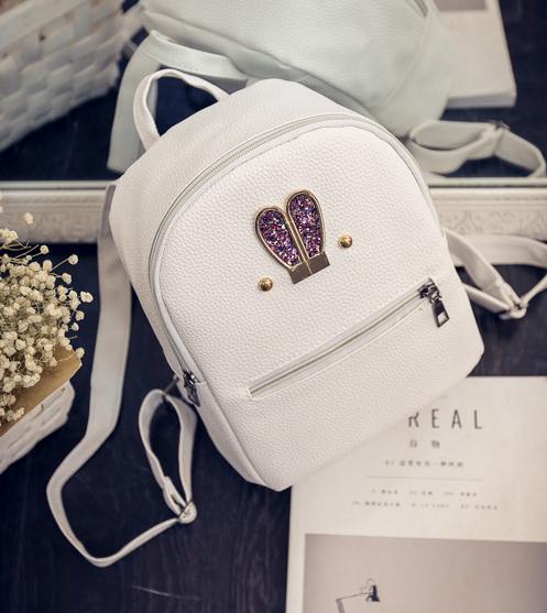 Рюкзак женский кожзам яркий с ушками Белый