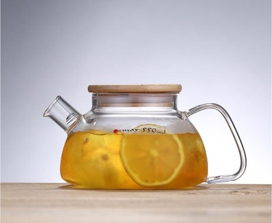 Заварочный стеклянный чайник 700 мл с бамбуковой крышкой, фото 1