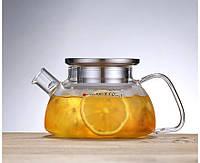 Скляний заварювальний чайник 700 мл з металевою кришкою, фото 1