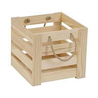 Ящик реечный из дерева с ручками (21х22х22 см) WoodMood