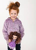 Махровая детская кофточка для девочки фиолетовая