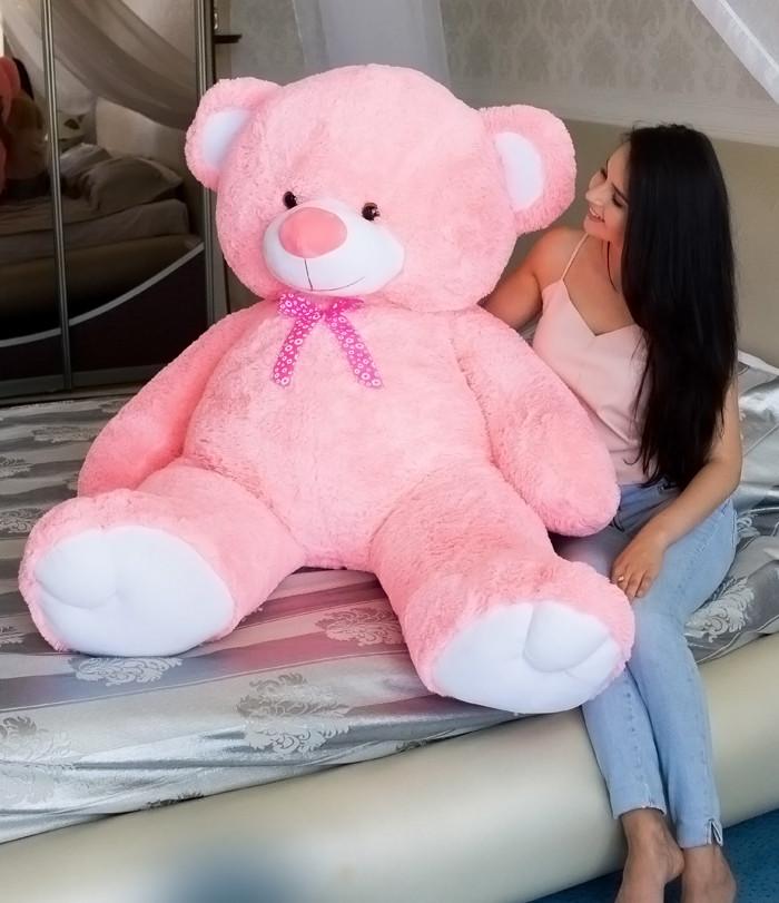 Плюшевий Ведмедик 2 метри рожевий. Великий Плюшевий Ведмідь. Велика М'яка іграшка Плюшевий Ведмедик