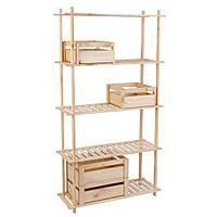 Комплект 10: деревянный стеллаж STR 053080 и ящики из дерева 2шт - BXM153030 + 2шт - BXM153040