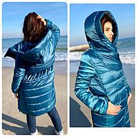 Пальто парка удлинённое oversize.арт M522 марокканский сине зелёный