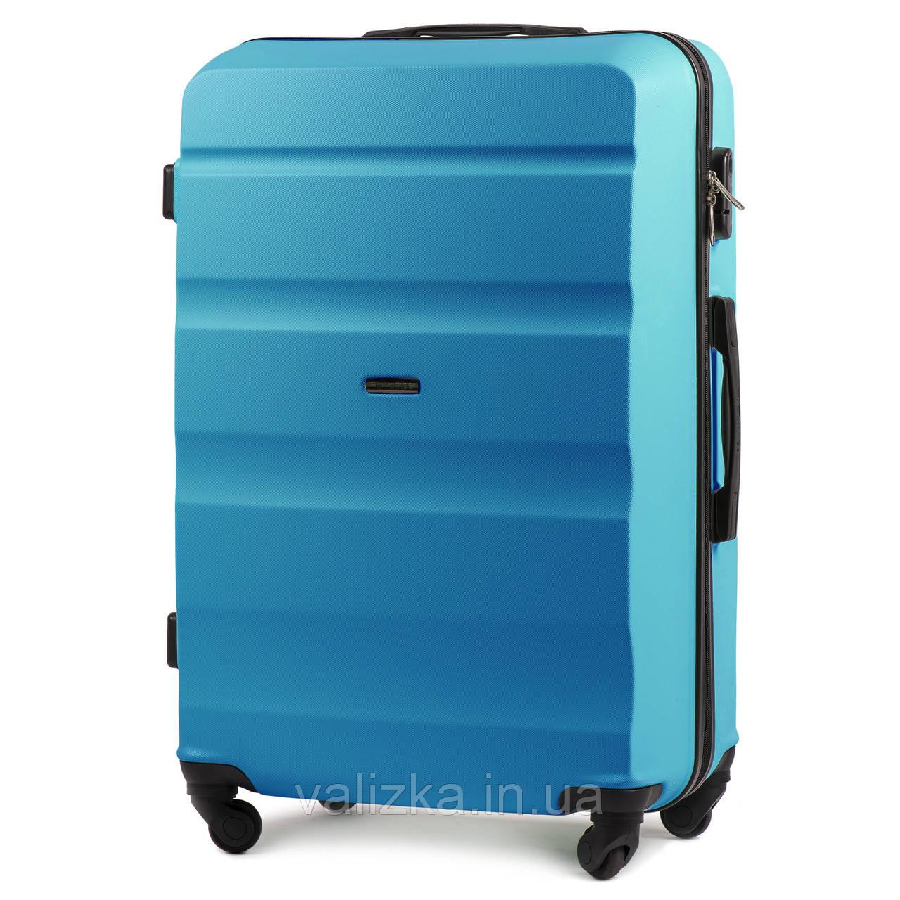 Чемодан из поликарбоната большой Wings AT01 на 4-х колесах голубой
