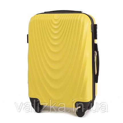Чемодан из поликарбоната малый Wings 304 желтый на 4-х колесах, фото 2