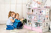 """Кукольный домик NestWood модный """"Большой особняк для кукол ЛОЛ"""" + Подарок мебель 9 ед."""