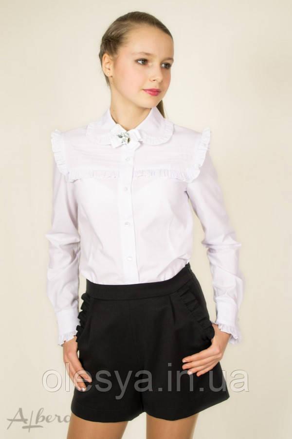 Блуза с кокеткой, круглым воротником и брошью 5035 ТМ Albero Размеры 134- 158
