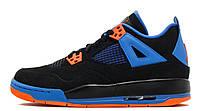 Баскетбольные женские кроссовки Nike Air Jordan Retro 4 IV Cavs  (найк аир джордан 4, черные/синие/оранжевые)